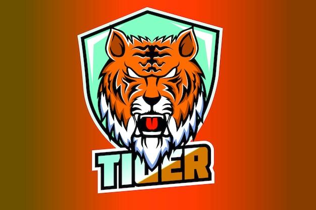 Шаблон логотипа киберспорта с головой талисмана тигра
