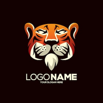 Tiger mascot logo design isolated on brown