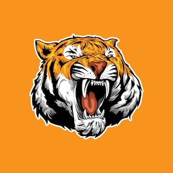 Тигр талисман рев арт дизайн