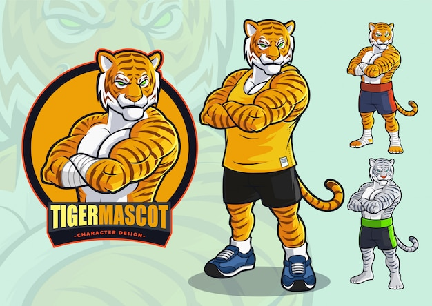 Tiger mascot for spots and martial arts logo and illustration with alternate appearances.