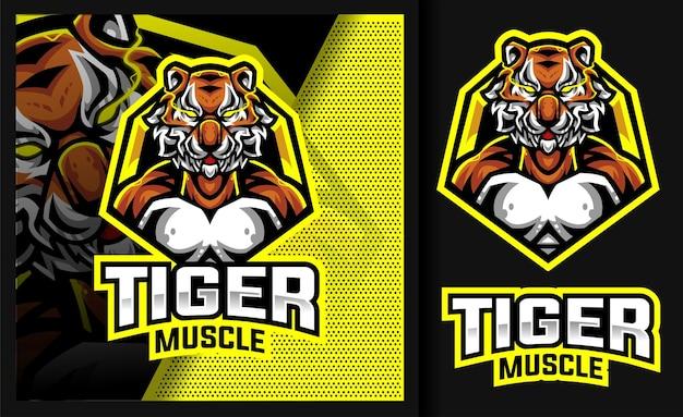 Tiger mucle sport mascot logo