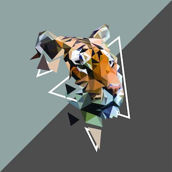 Tiger on Low Poly Art