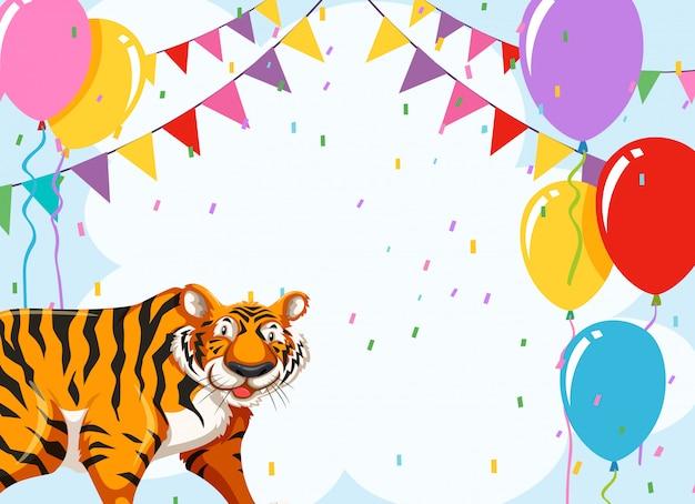 Тигр на вечеринке шаблон