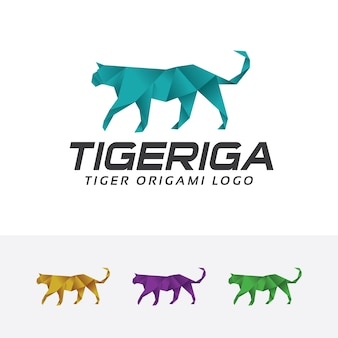 Tiger origami vector logo template