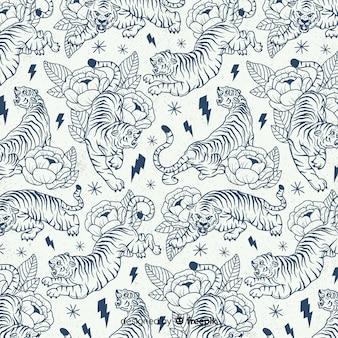호랑이 패턴 손으로 그린 디자인