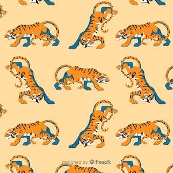 Tiger pattern hand drawn design