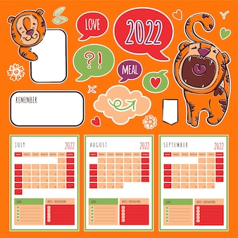 Tiger planner 2022 year template schedule and collection with design elements and cats