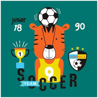 Tiger the player soccer funny animal cartoon