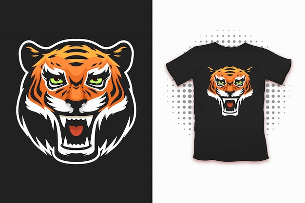 티셔츠 디자인을위한 타이거 프린트
