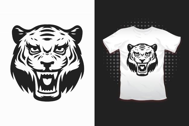 Tシャツデザインのタイガープリント