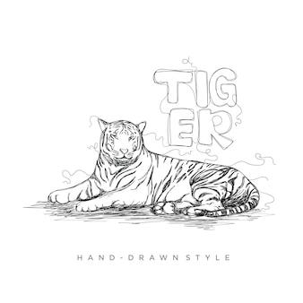Тигр отдохнуть в стиле рисованной, иллюстрации животных с карандашом