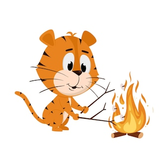 Tiger roasts marshmallows on a wood fire. cute cartoon character
