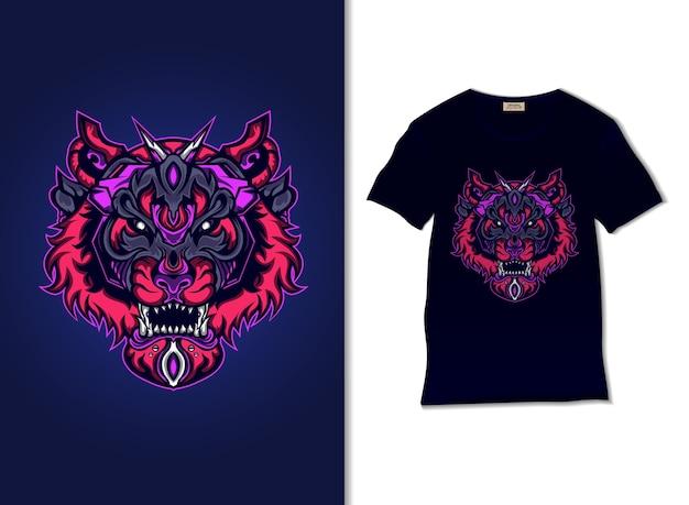 Иллюстрация робота-тигра с дизайном футболки, рисованной