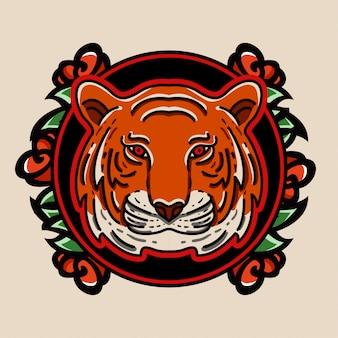 Tiger and rose emblem logo character tattoo style