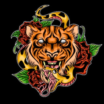 Tiger rose and snack tattoo illustration