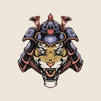 Tiger samurai isolated on white