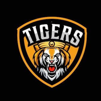 Tiger and shield mascot logo