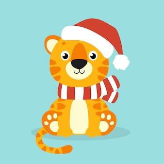 Символ тигра в новогодней шапке мультипликационный персонаж