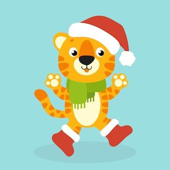 Tiger simbol in a santa hat cartoon character