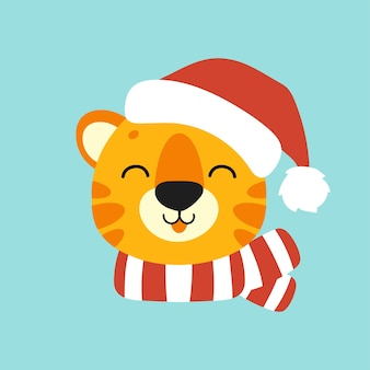 Tiger simbol in a santa hat