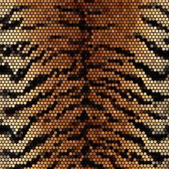 Тигр раздели мозаичный фон