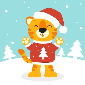 Символ тигра в новогодней шапке с рождеством и новым годом