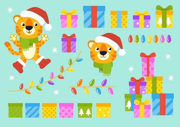 Символ тигра в зимней шапке с подарками нового года и рождества
