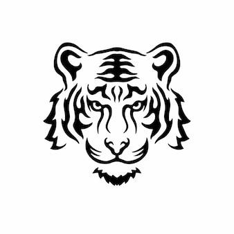 Тигр символ логотип дизайн племенных тату трафарет векторные иллюстрации