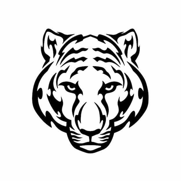 Tiger symbol logo tribal tattoo design stencil vector illustration