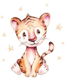 호랑이. 2022년의 상징입니다. 수채화 그림입니다. 귀여운 동물입니다.