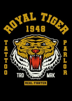 Tiger tattoo mascot in vintage style