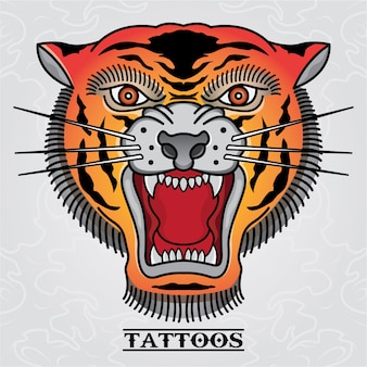 Tiger tattoo old skull