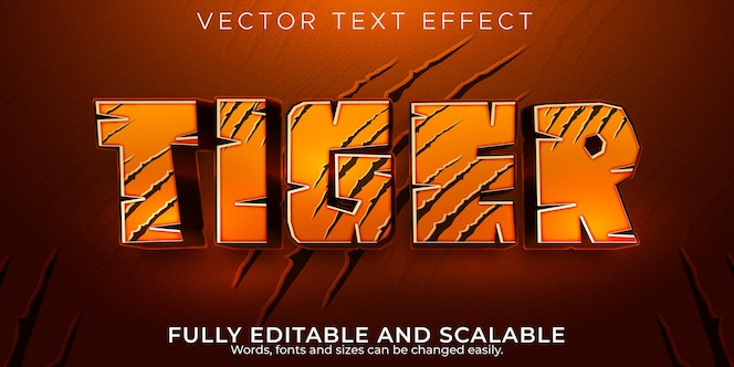 Tiger text effect, editable wild and jungle text style