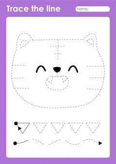 Tiger - дошкольный лист tracing lines для детей для отработки мелкой моторики