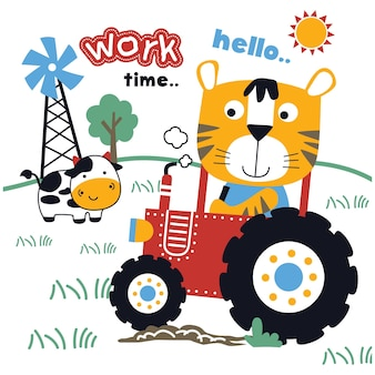 Tiger and tractor in the farm funny animal cartoon