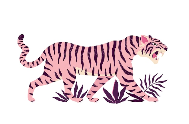 Tiger and tropical leaves illustration