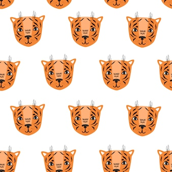 Tiger vector seamless pattern scandinavian style