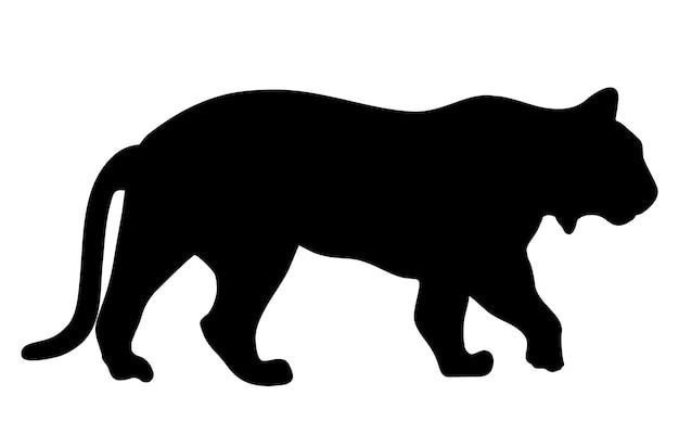 호랑이 벡터 실루엣 그림 흰색 배경에 고립입니다. 걷는 호랑이 실루엣 측면 보기. 큰 야생 고양이. 문신 기호입니다.