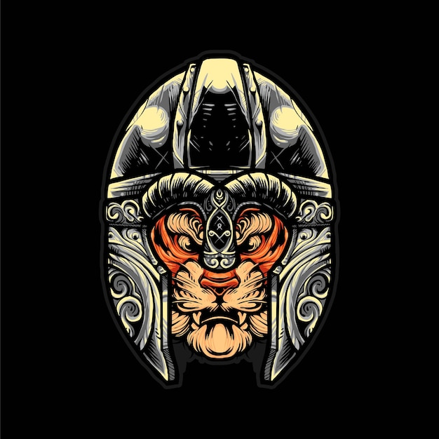 Tiger viking helmet vector illustration, modern cartoony style suitable for t shirt or print products