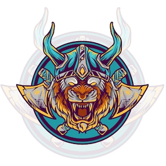 Tiger viking illustration Premium Vector