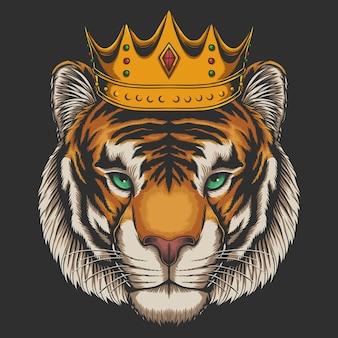 Tiger waring crown  illustration