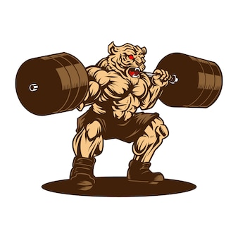 Tiger weightlifting gym sport hand drawn