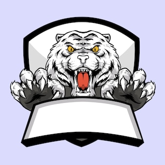 Tiger white head with claw and banner emblem logo mascot design