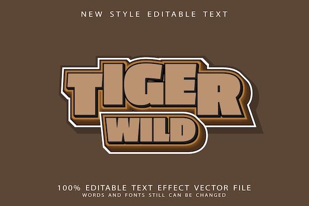 Tiger wild text effect emboss cartoon style