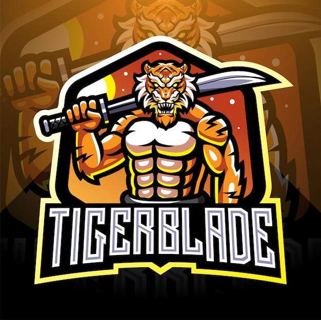 Tiger with blade esport mascot logo