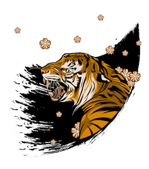 Tiger with blossom flowers illustration