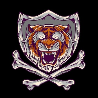 Tiger with cross bone and shield