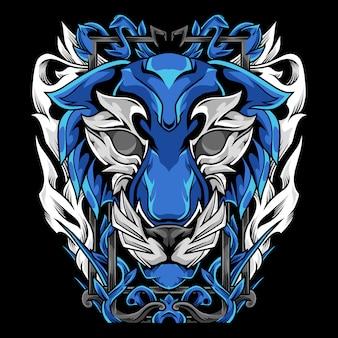 Tiger with florist ornament mascot illustration