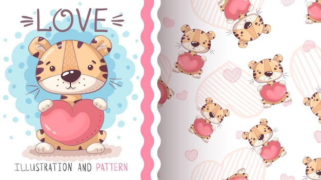 Tiger with heart - seamless pattern