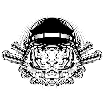 Tiger with helmet and guns detailed vector design concept